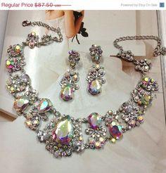 Wedding jewelry set Bridal bib necklace and by GlamDuchess on Etsy