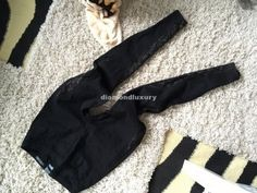 F&F czarne legginsy wstawki koronka lace 36 S