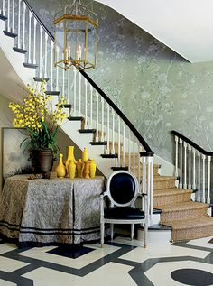 Mary McDonald using aquamarine Gracie hand painted wallpaper and her signature painted floors