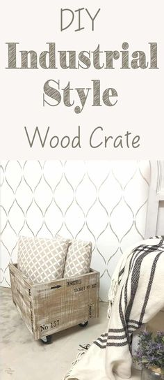 How to make an easy industrial style wood crate with some paint and stencils · Via www.sweethings.net - #decoracion #homedecor #muebles
