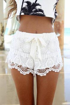 White Plain Drawstring Brocade Crochet Lace Crop Bow Wavy Edge Lace Shorts