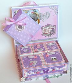 """Мамины сокровища """" Для Есении"""" - бледно-сиреневый,для новорожденных,коробочка"""