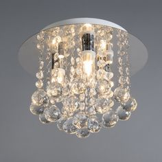Ceiling Lamp Perlin White with Clear Crystal Droplets