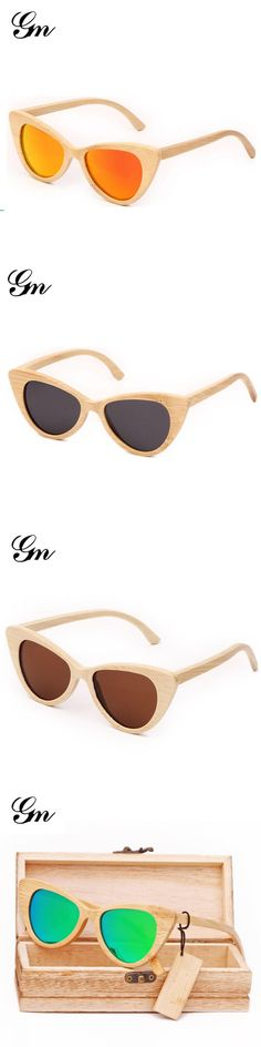 G M 2018 Custom Logo,   Wood Eyewear, Bamboo Cat Eye Sport Sunglasses, Polarized   Eyewear