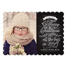 Elegant Modern Chalkboard Christmas Photo Card Invitations  #christmascards
