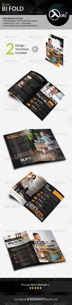Runn Marathon Running Club Fitness Bifold Brochure