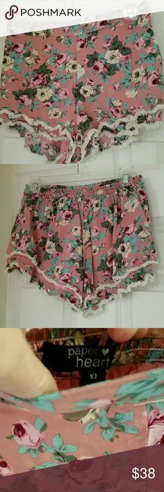 LF paper heart floral ruffle shorts pink 10 Gently worn like new size 10.  Elastic waist and very soft shorts. LF Shorts