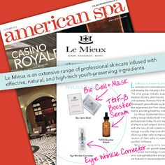 American Spa October 2012 feature of Le Mieux's fan favorite products: Bio Cell+ Mask, TGF-B Booster Serum, & Eye Wrinkle Corrector.