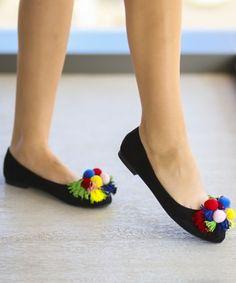 Balerini negri cu ciucuri multicolori Casual, Shoes, Fashion, Elegant, Moda, Shoes Outlet, Fashion Styles, Shoe, Footwear