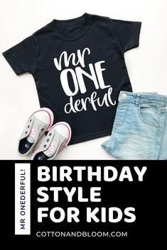 birthday style 1st Birthday Shirts, 1st Boy Birthday, 1st Birthdays, Inspiration For Kids, Flat Lay, Party Planning, Kids Outfits, Kids Fashion, Bloom