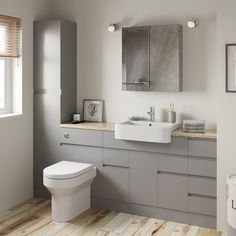 Reeves Wharfe slate matt grey straight small storage fitted furniture pack with white worktop Grey Bathrooms, Modern Bathroom, Bathroom Ideas, Fitted Bathrooms, Small Bathroom Interior, Half Bathrooms, Rental Bathroom, Family Bathroom, Bathroom Inspo