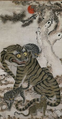 """artistsanimals: """"Title: Tiger Family Date: Joseon dynasty, late Medium: hanging scroll; ink and color on paper Size: x cm x 35 in) Description: """"The Korean tiger was. Tiger Painting, Mural Painting, Family Painting, Traditional Paintings, Traditional Art, Japanese Prints, Japanese Art, Art Tigre, Asian Tigers"""