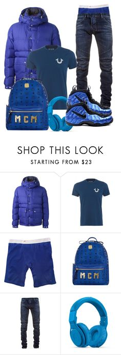 """""""blue"""" by ebkkeef ❤ liked on Polyvore featuring Moncler, Ethika, MCM, Balmain, Beats by Dr. Dre and NIKE"""