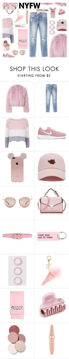 """""""Senza titolo #7083"""" by waikiki24 ❤ liked on Polyvore featuring Frame, NIKE, Forever 21, Fendi, Blumarine, Various Projects, Gucci, Alexandre de Paris, LunatiCK Cosmetic Labs and Maybelline"""