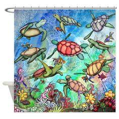 Sea Turtles Shower Curtain by zodiarts - CafePress Shower Curtain Art, Fabric Shower Curtains, Beach House Bathroom, Bathroom Things, Bathroom Ideas, Turtle Day, Turtle Ring, Turtle Pattern, Mermaid Beach
