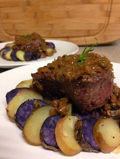 Pan Seared Steak with Green Peppercorn Sauce and Salt-Baked Fingerling Potatoes