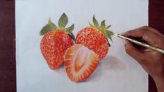 Drawing strawberry - Prismacolor Pencils