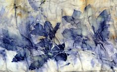 deep violet to almost indigo blue, and yellowish stains from peony leaf on pre-mordant cotton.