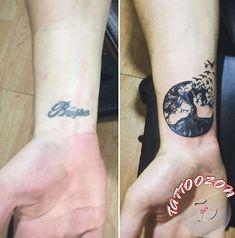 isim ağaç kuş kapatma dövmesi & name tree bird cover up tattoo..