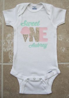 Sweet One First Birthday Onesie - gold glitter and pink, mint pink, ice cream cone