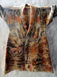 Upcycled NZ woolen blanket coat eco dyed by IndigoBushStudios