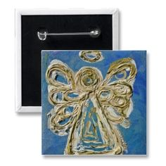 Blue Guardian Angel Button, Pin, or Pendant button