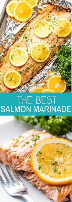 Soy orange garlic ginger salmon The Best Salmon Marinade requires just a handful of ingredients to bring out the best flavor in your salmon. It's the best marinade for salmon whether you are making grilled salmon or oven baked. Fish Recipes, Seafood Recipes, Cooking Recipes, Healthy Recipes, Recipes For Salmon Filets, Tilapia Recipes, Fish Dinner, Seafood Dinner, Best Salmon Marinade