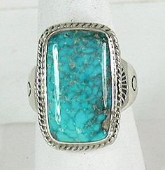 Authentic Native American Sterling Silver Candelaria Turquoise ring by Navajo Phillip Sanchez