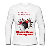 Add the name of your team or club to this comfy Women's Bowling League Long Sleeve Jersey T-Shirt.
