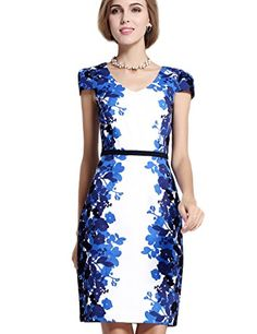 YACUN Womens Floral Printed Short Sleeve Office Sheath Dress US 16 ** Continue to the product at the image link.