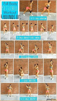 Fitness Workouts, Full Body Kettlebell Workout, Fitness Diet, At Home Workouts, Fitness Motivation, Kettlebell Cardio, Kettlebell Challenge, Hiit, Total Body Toning