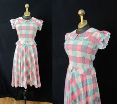 Sweet 1940's Checkered Cotton Day Dress w/ Lace by wearitagain, $98.00