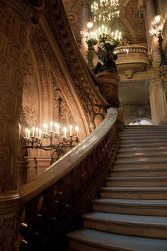 Grand Staircase in Palais Garnier, Paris, France Beautiful Architecture, Beautiful Buildings, Architecture Design, Beautiful Places, Beautiful Stairs, Creative Architecture, Baroque Architecture, Grande Cage D'escalier, Belle France