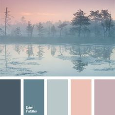 It is appropriate to apply this colour palette for a room decorated in chalet style somewhere in the mountains, because it has collected a cool hues that w.