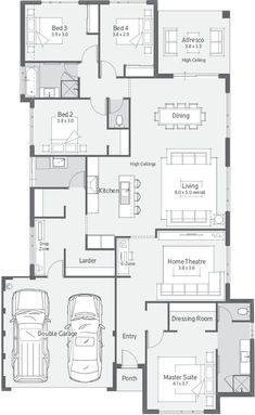 New Home Designs Perth   Explore New House Designs & Prices 4 Bedroom House Plans, New House Plans, Modern House Plans, House Floor Plans, Architectural Design House Plans, Home Design Floor Plans, Design Your Dream House, Modern House Design, House Construction Plan