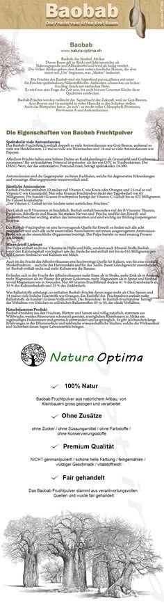 Eigenschaften von Baobab Fruchtpulver Superfood, Words, Fruit Juice, Tree Structure, Simple, Horse