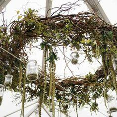 Hanging branch wreath | Kaleidoscope Weddings | Beautiful Blooms