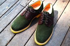 Green Suede Saddle Shoes by Mark McNairy
