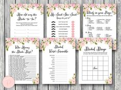 Peonies Bridal Shower Games Package, Instant Download, 6 Games Printable, Game Download, Bridal Shower Activities TG00 WD67 TH13