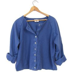 Blue Cotton Shirt Basic Button Up Knit Cardigan Minimal Preppy Henley... ($32) ❤ liked on Polyvore featuring tops, vintage shirts, button up shirts, long-sleeve shirt, long sleeve tops and long sleeve shirts