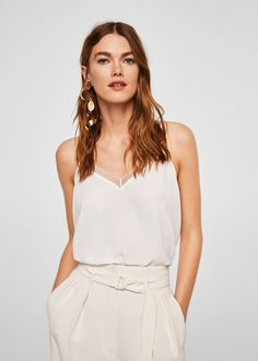 Mango Openwork Trims Lace Top - Khaki M Mango, Mode Top, Robins, Camisole Top, Formal Dresses, Lace, Outfits, Women, Style