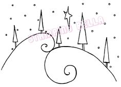 swirly hills with trees stamp. This could be drawn instead : swirly hills with trees stamp. This could be drawn instead Christmas Doodles, Diy Christmas Cards, Christmas Art, Christmas Decorations, Christmas Ornaments, Christmas Border, Winter Christmas, Watercolor Christmas Cards, Christmas Drawing