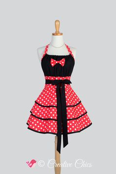 Flirty Chic Apron : EXCLUSIVE Creative Chics Retro Sexy Womans Apron Minnie Mouse Red and White Polka Dot with Black Trim  CreativeChics ETSY - $50