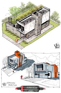 "homedesigning: "" (via Architectural flow: Surrealist home illustrations by Ney. - homedesigning: "" (via Architectural flow: Surrealist home illustrations by Neyra) "" Conceptual Model Architecture, Architecture Design Concept, Architecture Concept Drawings, Pavilion Architecture, Architecture Sketchbook, Architecture Presentation Board, Architectural Presentation, Modern Architecture, Sketches Arquitectura"