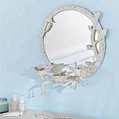 Metal Floral Beauty Storage Mirror #pbteen