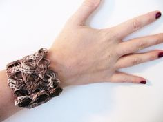 broomstick lace cuff bracelet crocheted by Erna from Eyes of a Child Blog