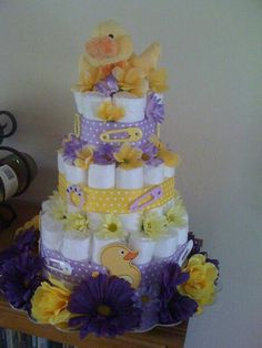 Purple rubber ducky diaper cake