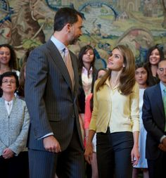 Prince Felipe  and Princess Letizia  attend several audiences at the Zarzuela Palace  in Madrid