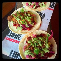 Lucha Fried Chicken Tacos! Fried achiote and buttermilk chicken wing, chilli mango salsa and coriander crema! Part of the new menu at Lucha Libre in Liverpool & Manchester!