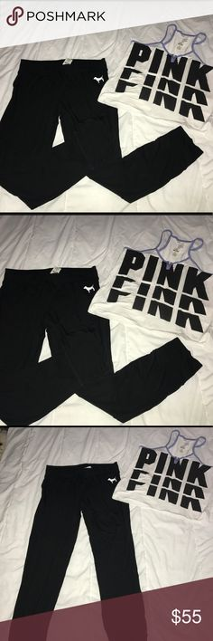 NWT Victoria's Secret Pink Pajama Jogger Set M NWT Victoria's Secret Pink Pajama Jogger Set Size M! This set features a very soft tank and super soft jogger pants! I will no separate this set! Price is Firm due to poshmark fees! No Trades! No Merc! PINK Victoria's Secret Intimates & Sleepwear Pajamas